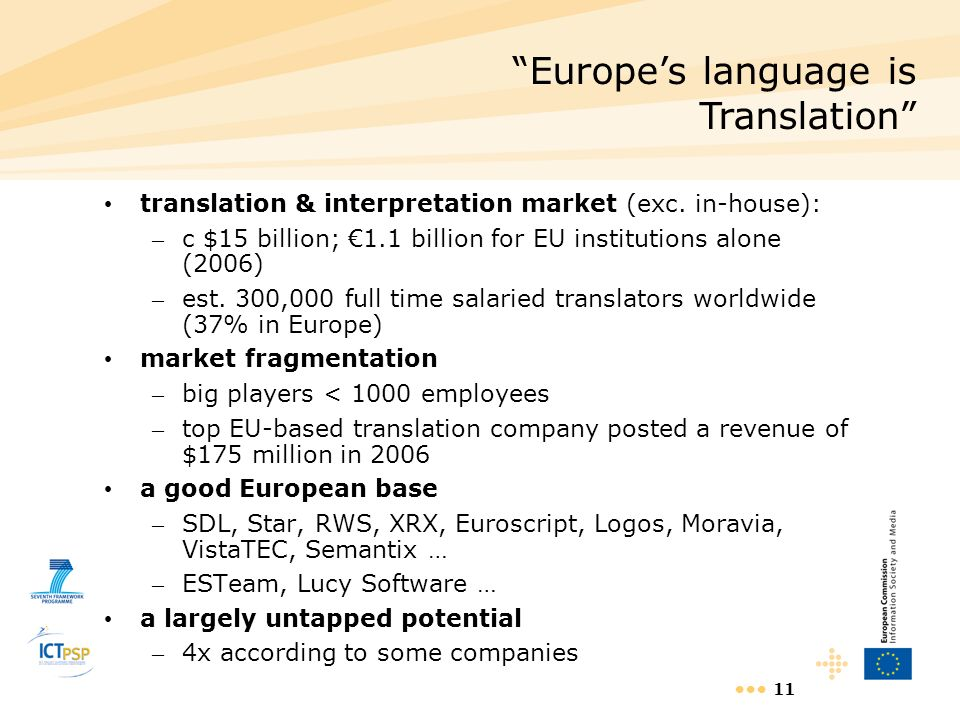 11 translation & interpretation market (exc. in-house): – c $15 billion; 1.1 billion for EU institutions alone (2006) – est. 300,000 full time salarie