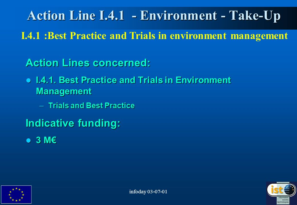 infoday Action Line I Environment - Take-Up Action Line I Environment - Take-Up Action Lines concerned: I.4.1.