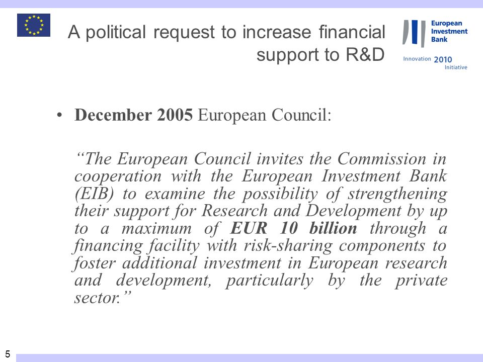 5 December 2005 European Council: The European Council invites the Commission in cooperation with the European Investment Bank (EIB) to examine the possibility of strengthening their support for Research and Development by up to a maximum of EUR 10 billion through a financing facility with risk sharing components to foster additional investment in European research and development, particularly by the private sector.