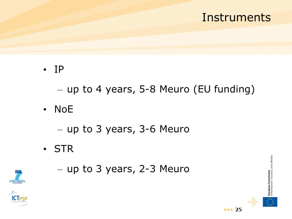 25 Instruments IP – up to 4 years, 5-8 Meuro (EU funding) NoE – up to 3 years, 3-6 Meuro STR – up to 3 years, 2-3 Meuro