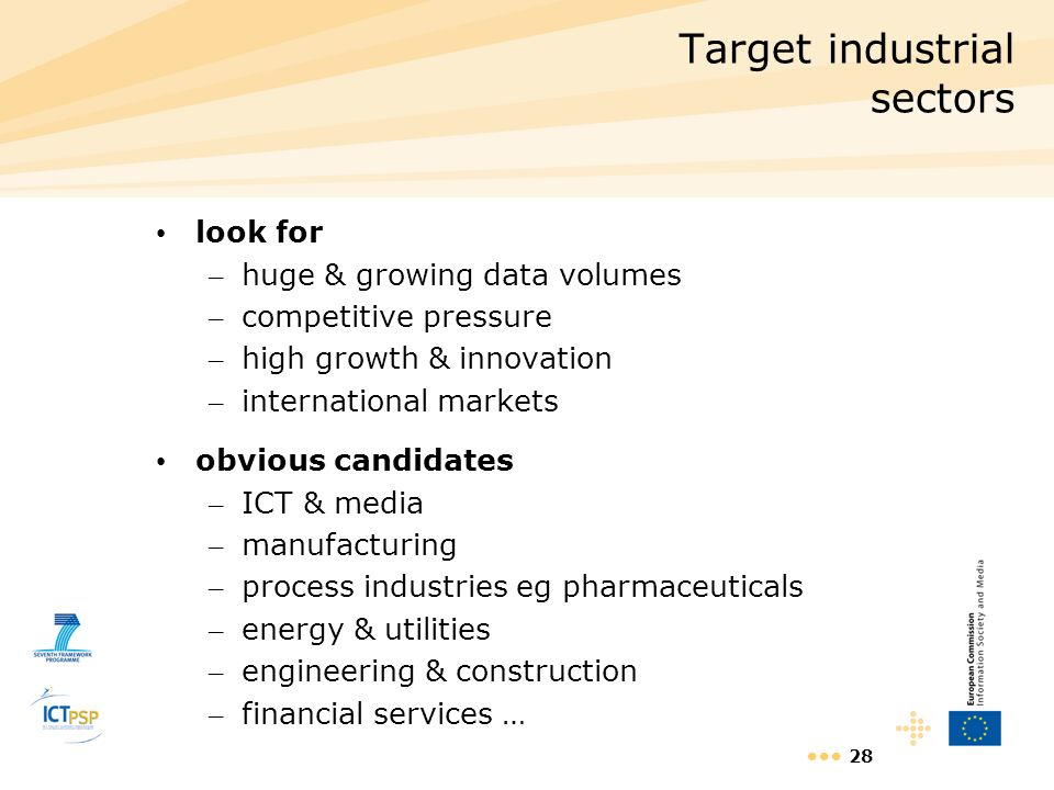 28 Target industrial sectors look for – huge & growing data volumes – competitive pressure – high growth & innovation – international markets obvious
