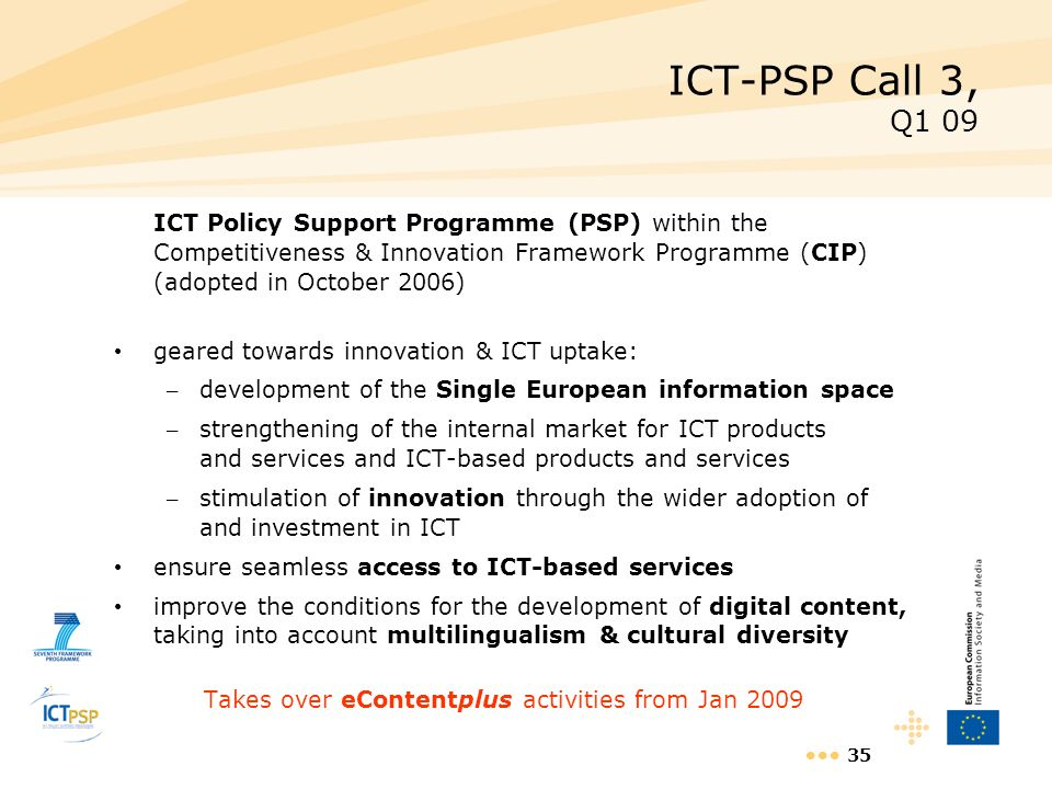 35 ICT-PSP Call 3, Q1 09 ICT Policy Support Programme (PSP) within the Competitiveness & Innovation Framework Programme (CIP) (adopted in October 2006