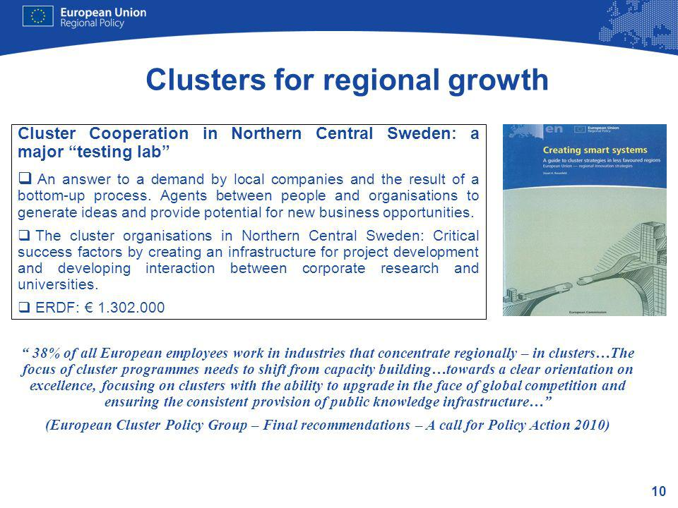10 Cluster Cooperation in Northern Central Sweden: a major testing lab An answer to a demand by local companies and the result of a bottom-up process.
