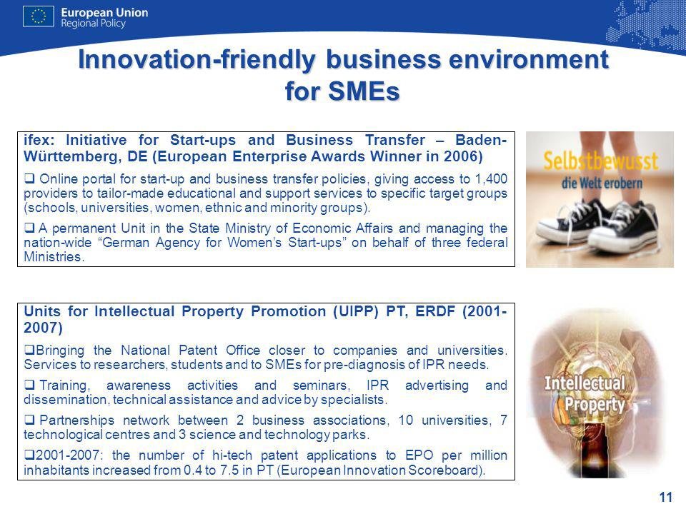 11 Innovation-friendly business environment for SMEs Units for Intellectual Property Promotion (UIPP) PT, ERDF (2001- 2007) Bringing the National Pate
