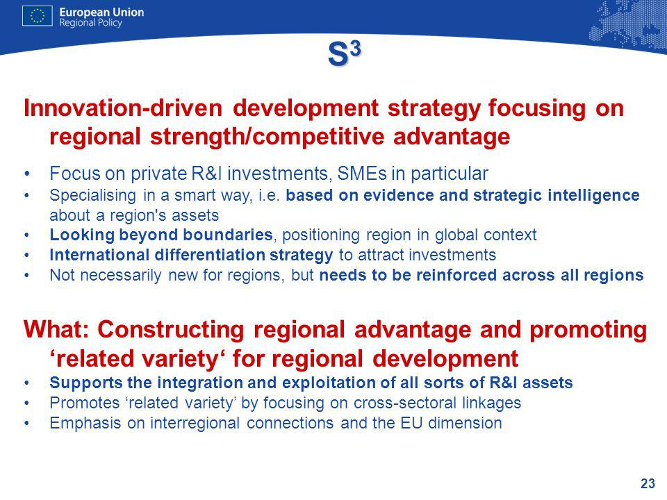 23 S3S3S3S3 Innovation-driven development strategy focusing on regional strength/competitive advantage Focus on private R&I investments, SMEs in parti