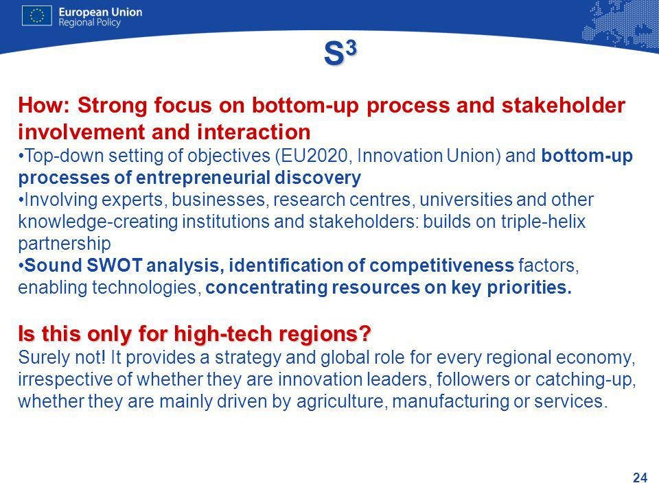24 S3S3S3S3 How: Strong focus on bottom-up process and stakeholder involvement and interaction Top-down setting of objectives (EU2020, Innovation Unio