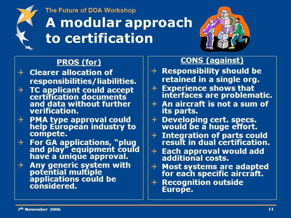 The Future of DOA Workshop 7 th November 2006 11 A modular approach to certification PROS (for) Clearer allocation of responsibilities/liabilities.