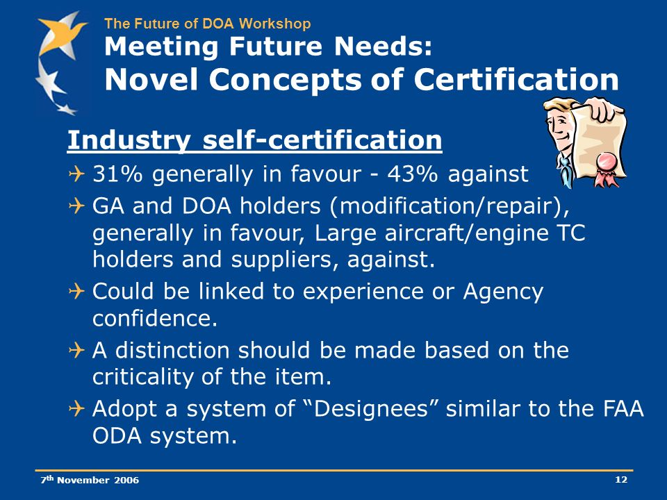The Future of DOA Workshop 7 th November 2006 12 Meeting Future Needs: Novel Concepts of Certification Industry self-certification 31% generally in favour - 43% against GA and DOA holders (modification/repair), generally in favour, Large aircraft/engine TC holders and suppliers, against.