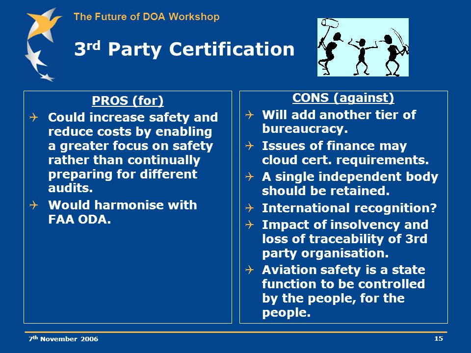 The Future of DOA Workshop 7 th November 2006 15 3 rd Party Certification PROS (for) Could increase safety and reduce costs by enabling a greater focus on safety rather than continually preparing for different audits.