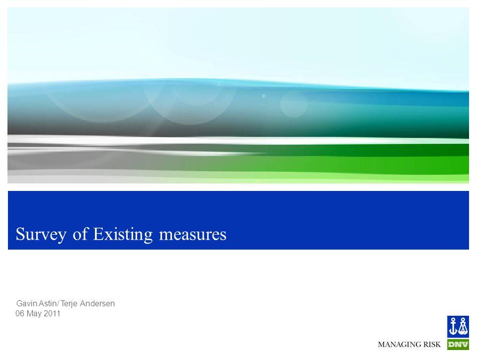 Gavin Astin/ Terje Andersen 06 May 2011 Survey of Existing measures
