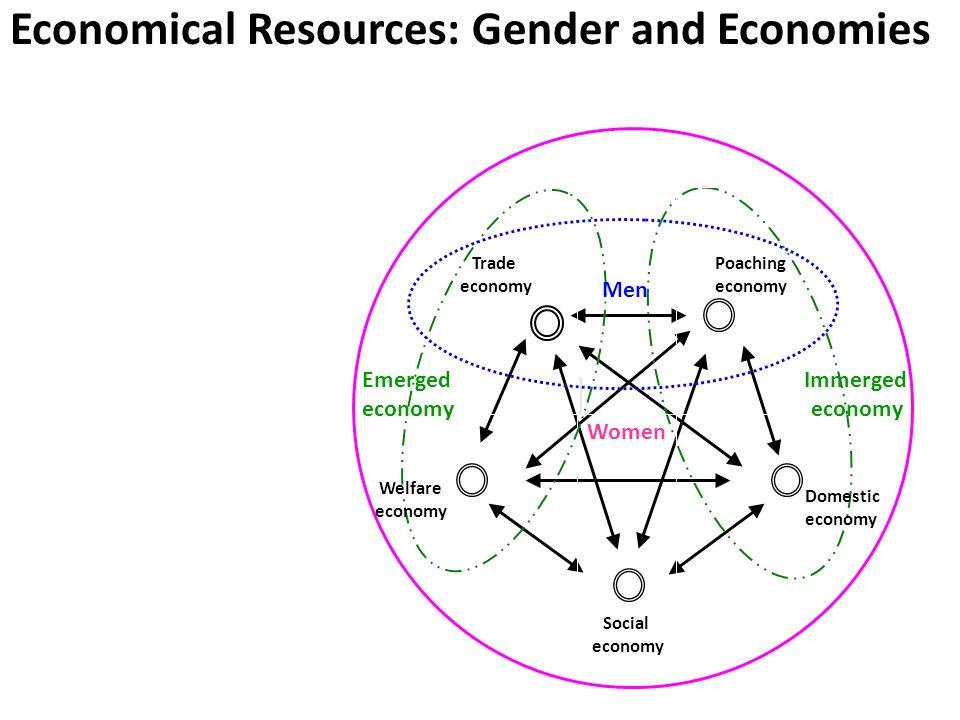 Trade economy Men Poaching economy Women Immerged economy Domestic economy Welfare economy Emerged economy Social economy Economical Resources: Gender and Economies