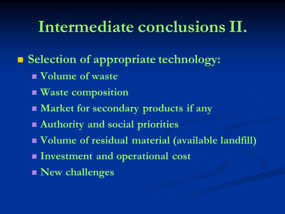 Intermediate conclusions II.