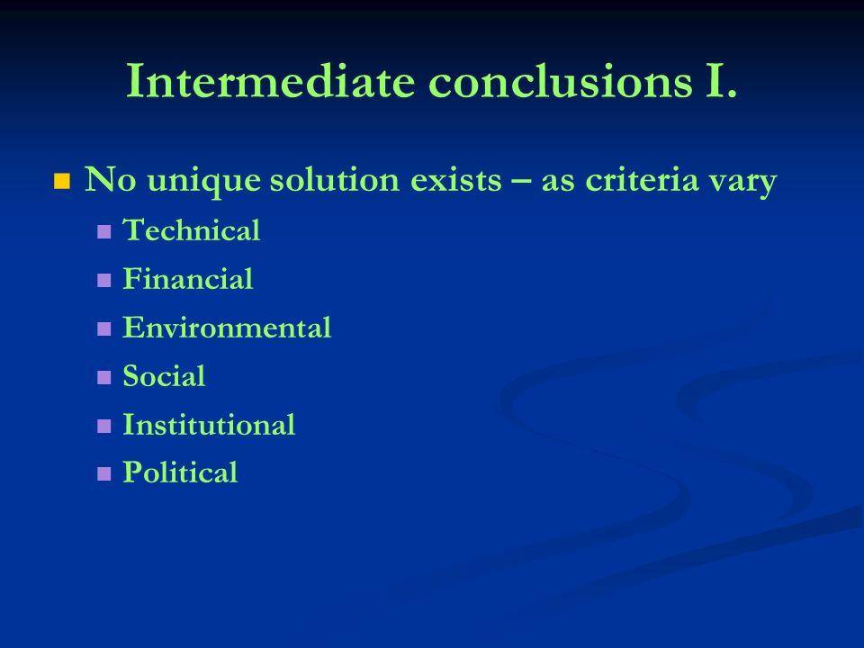 Intermediate conclusions I.