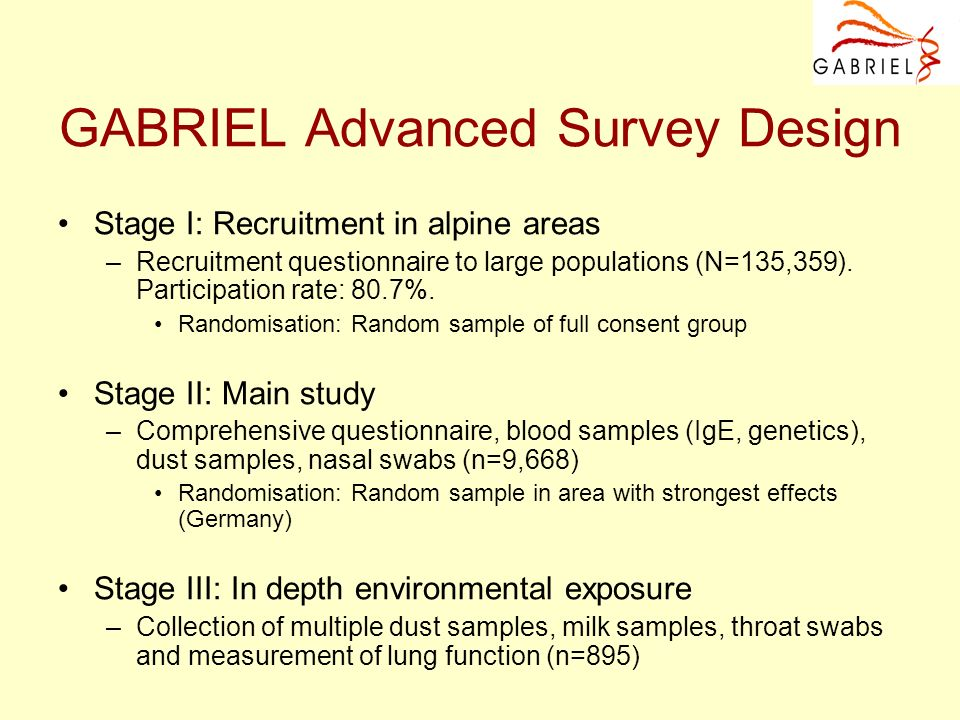 GABRIEL Advanced Survey Design Stage I: Recruitment in alpine areas –Recruitment questionnaire to large populations (N=135,359). Participation rate: 8