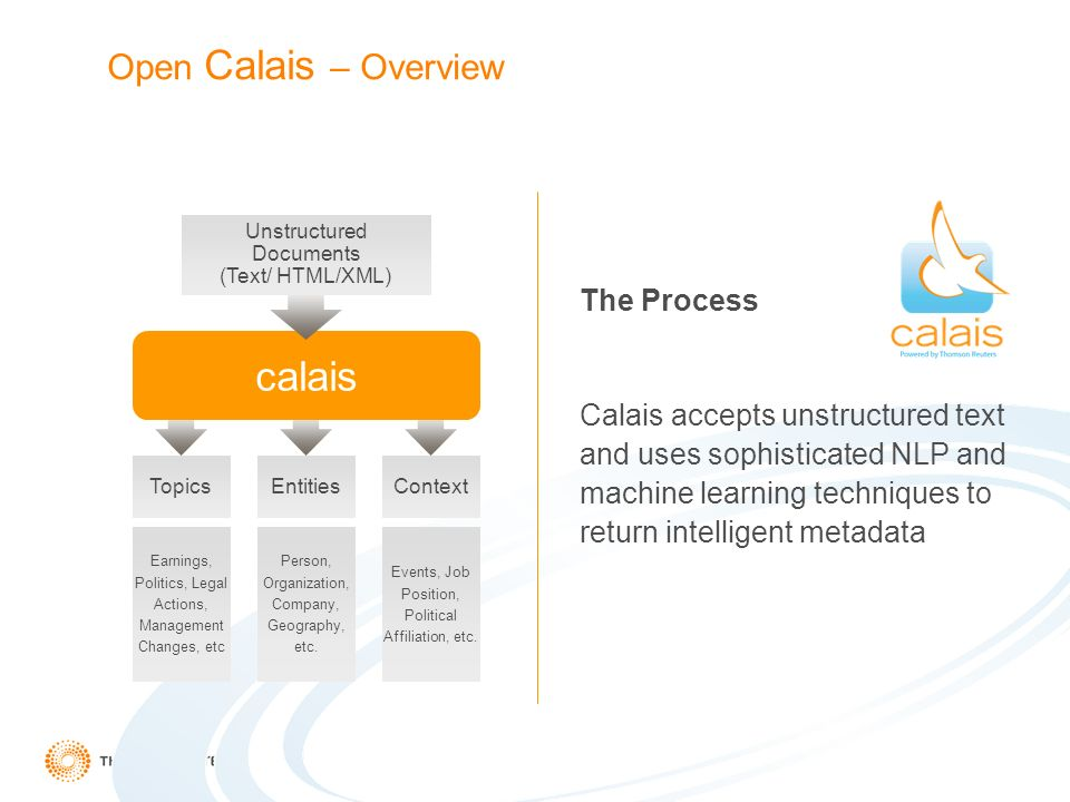 Open Calais – Overview The Process Calais accepts unstructured text and uses sophisticated NLP and machine learning techniques to return intelligent metadata calais TopicsEntitiesContext Earnings, Politics, Legal Actions, Management Changes, etc Person, Organization, Company, Geography, etc.