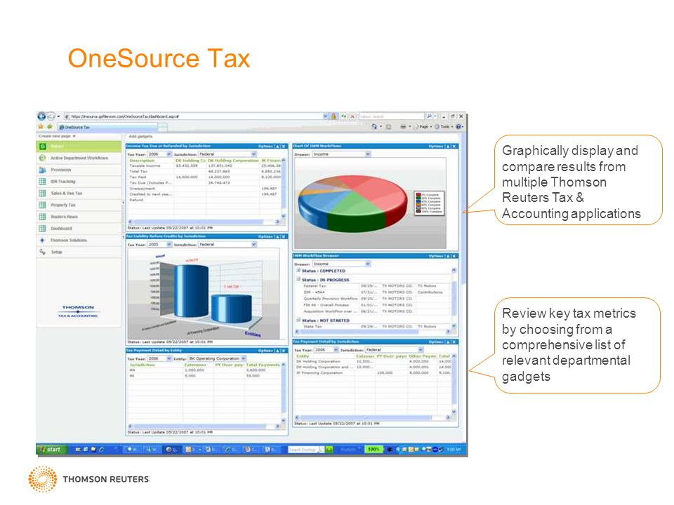 OneSource Tax Graphically display and compare results from multiple Thomson Reuters Tax & Accounting applications Review key tax metrics by choosing from a comprehensive list of relevant departmental gadgets