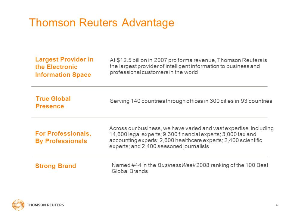 4 Thomson Reuters Advantage At $12.5 billion in 2007 pro forma revenue, Thomson Reuters is the largest provider of intelligent information to business and professional customers in the world Largest Provider in the Electronic Information Space Serving 140 countries through offices in 300 cities in 93 countries True Global Presence Across our business, we have varied and vast expertise, including 14,600 legal experts; 9,300 financial experts; 3,000 tax and accounting experts; 2,600 healthcare experts; 2,400 scientific experts; and 2,400 seasoned journalists For Professionals, By Professionals Named #44 in the BusinessWeek 2008 ranking of the 100 Best Global Brands Strong Brand