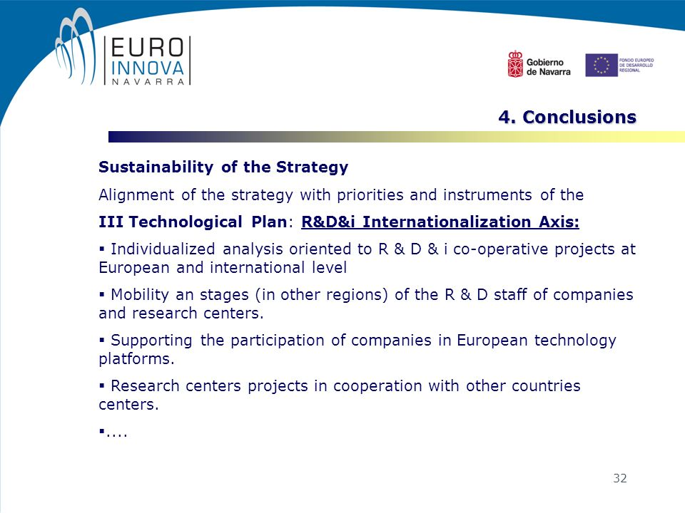 32 Sustainability of the Strategy Alignment of the strategy with priorities and instruments of the III Technological Plan: R&D&i Internationalization Axis: Individualized analysis oriented to R & D & i co-operative projects at European and international level Mobility an stages (in other regions) of the R & D staff of companies and research centers.