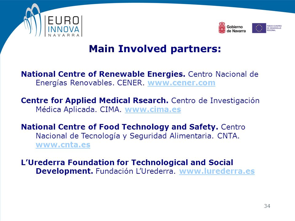 34 National Centre of Renewable Energies. Centro Nacional de Energías Renovables. CENER. www.cener.comwww.cener.com Centre for Applied Medical Rsearch