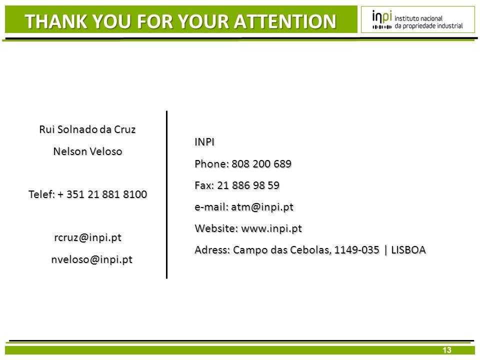 13 INPI Phone: 808 200 689 Fax: 21 886 98 59 e-mail: atm@inpi.pt Website: www.inpi.pt Adress: Campo das Cebolas, 1149-035   LISBOA Rui Solnado da Cruz