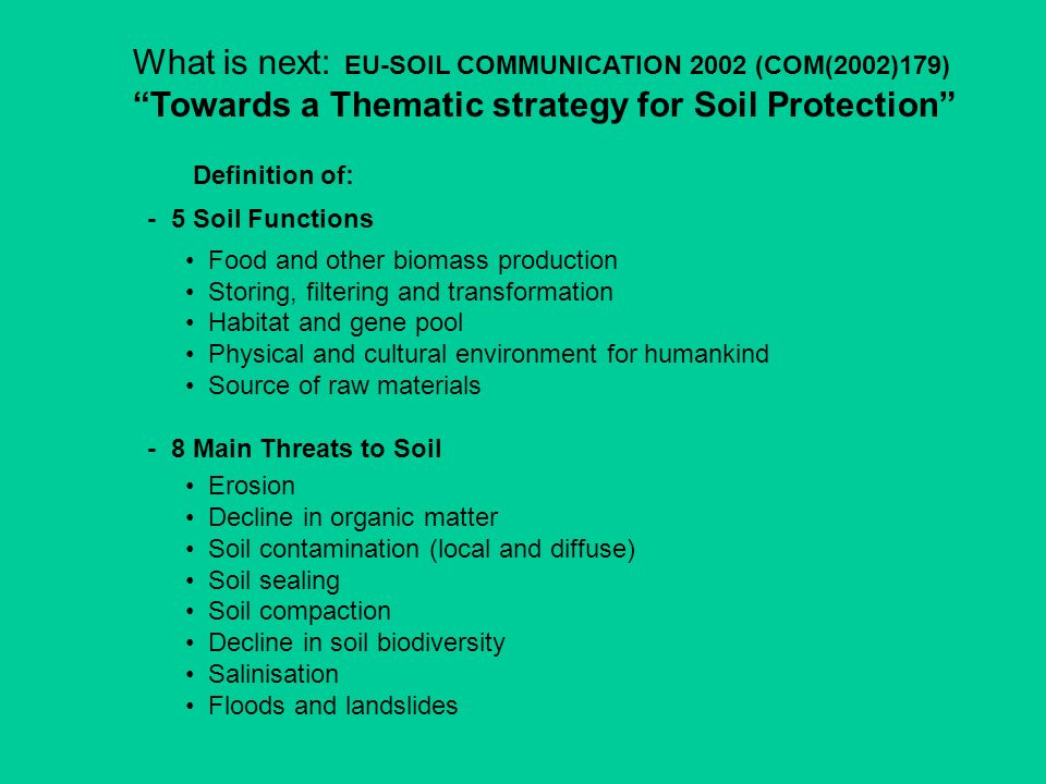 What is next: EU-SOIL COMMUNICATION 2002 (COM(2002)179) Towards a Thematic strategy for Soil Protection Definition of: - 5 Soil Functions Food and oth