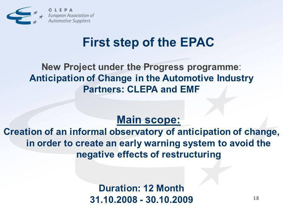 18 First step of the EPAC New Project under the Progress programme: Anticipation of Change in the Automotive Industry Partners: CLEPA and EMF Main sco
