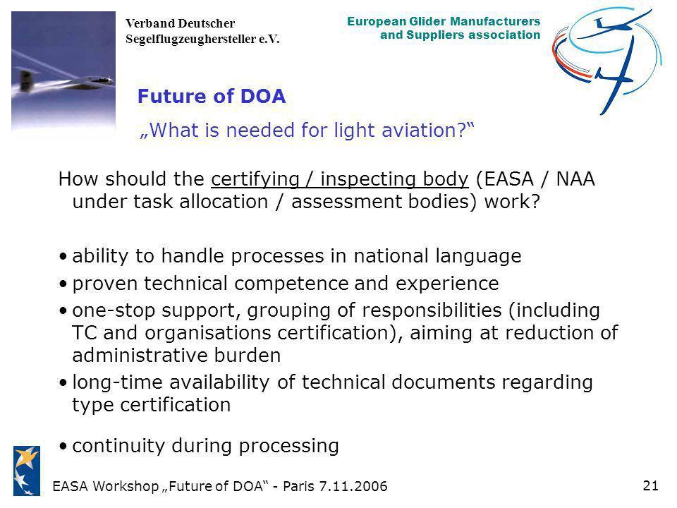 EASA Workshop Future of DOA - Paris 7.11.2006 European Glider Manufacturers and Suppliers association Verband Deutscher Segelflugzeughersteller e.V. 2