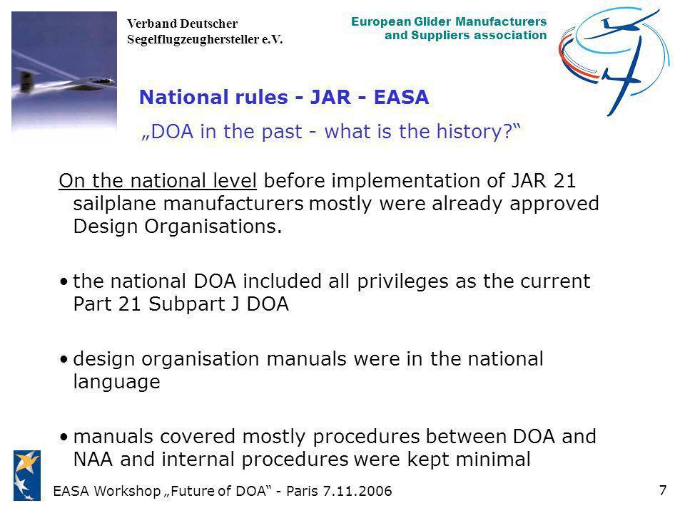 EASA Workshop Future of DOA - Paris 7.11.2006 European Glider Manufacturers and Suppliers association Verband Deutscher Segelflugzeughersteller e.V. 7