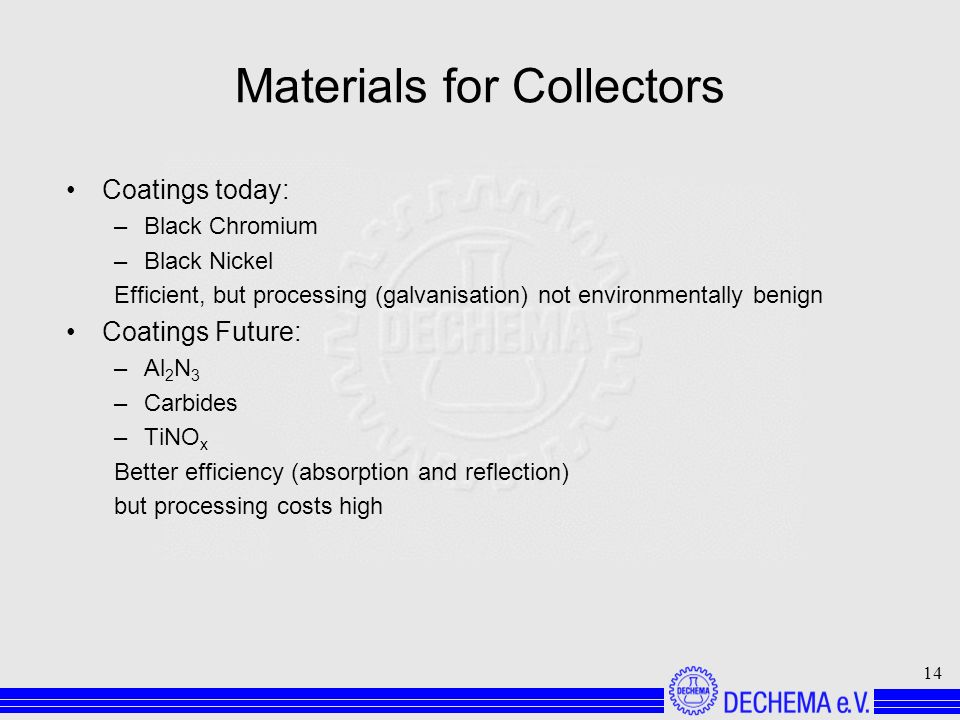 14 Materials for Collectors Coatings today: –Black Chromium –Black Nickel Efficient, but processing (galvanisation) not environmentally benign Coatings Future: –Al 2 N 3 –Carbides –TiNO x Better efficiency (absorption and reflection) but processing costs high