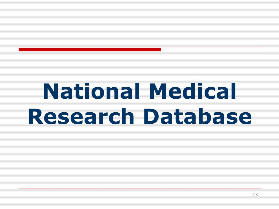 23 National Medical Research Database