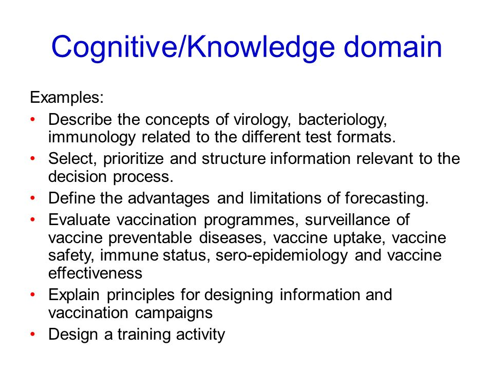 Cognitive/Knowledge domain Examples: Describe the concepts of virology, bacteriology, immunology related to the different test formats. Select, priori