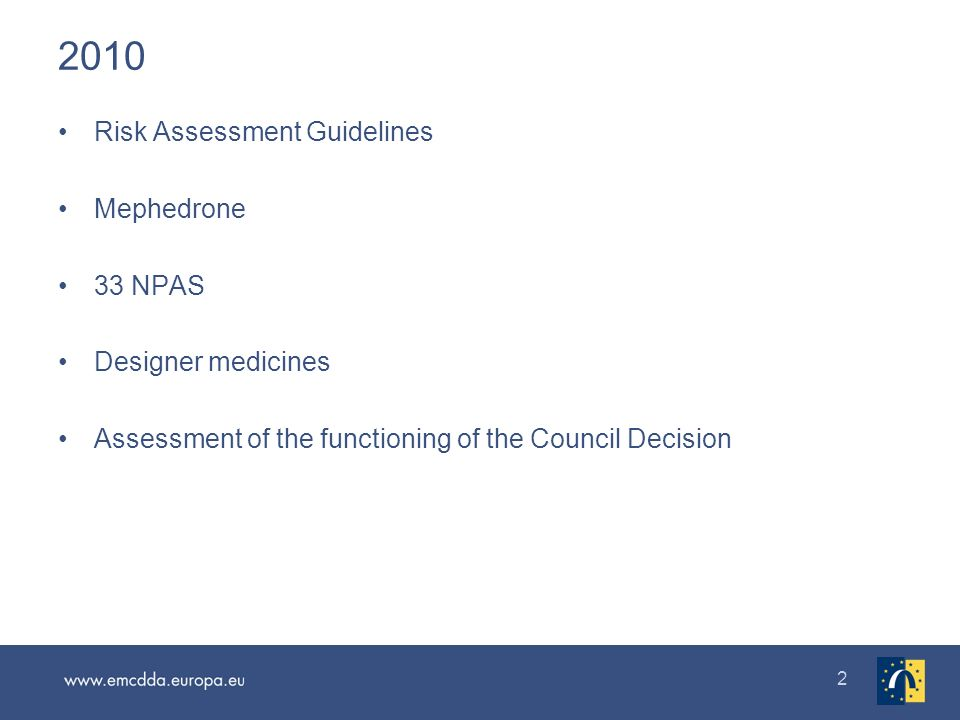 2 2010 Risk Assessment Guidelines Mephedrone 33 NPAS Designer medicines Assessment of the functioning of the Council Decision