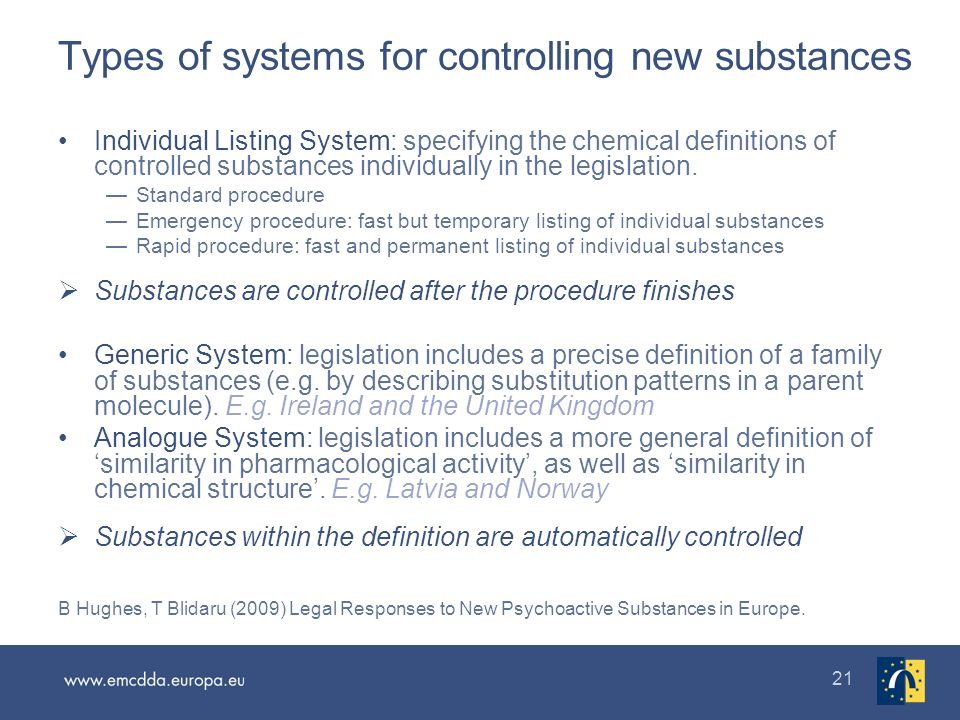 21 Types of systems for controlling new substances Individual Listing System: specifying the chemical definitions of controlled substances individually in the legislation.