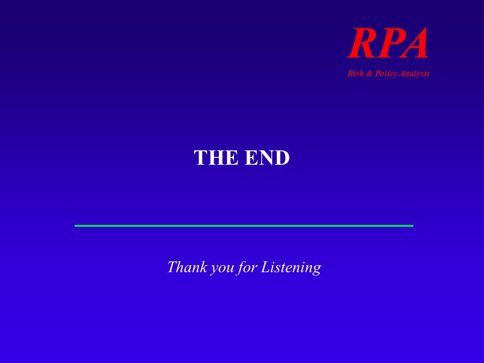 RPA Risk & Policy Analysts THE END Thank you for Listening