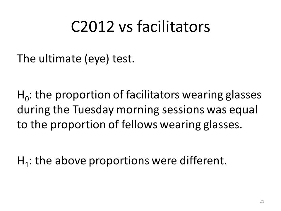 C2012 vs facilitators The ultimate (eye) test. H 0 : the proportion of facilitators wearing glasses during the Tuesday morning sessions was equal to t