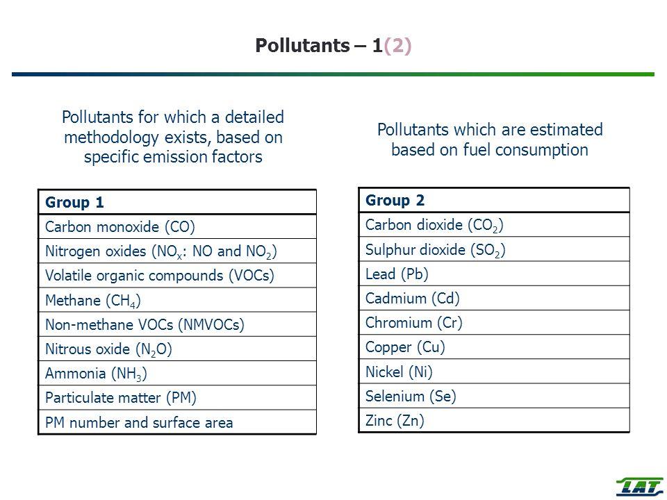 Pollutants – 1(2) Group 1 Carbon monoxide (CO) Nitrogen oxides (NO x : NO and NO 2 ) Volatile organic compounds (VOCs) Methane (CH 4 ) Non-methane VOC