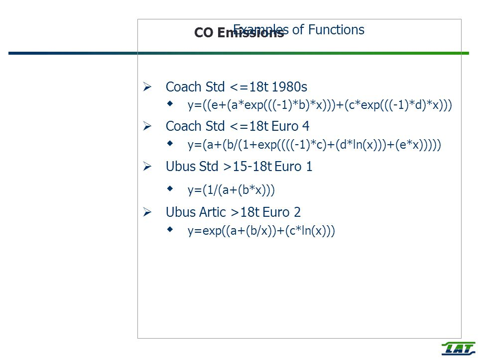 CO Emissions Examples of Functions Coach Std <=18t 1980s y=((e+(a*exp(((-1)*b)*x)))+(c*exp(((-1)*d)*x))) Coach Std <=18t Euro 4 y=(a+(b/(1+exp((((-1)*c)+(d*ln(x)))+(e*x))))) Ubus Std >15-18t Euro 1 y=(1/(a+(b*x))) Ubus Artic >18t Euro 2 y=exp((a+(b/x))+(c*ln(x)))