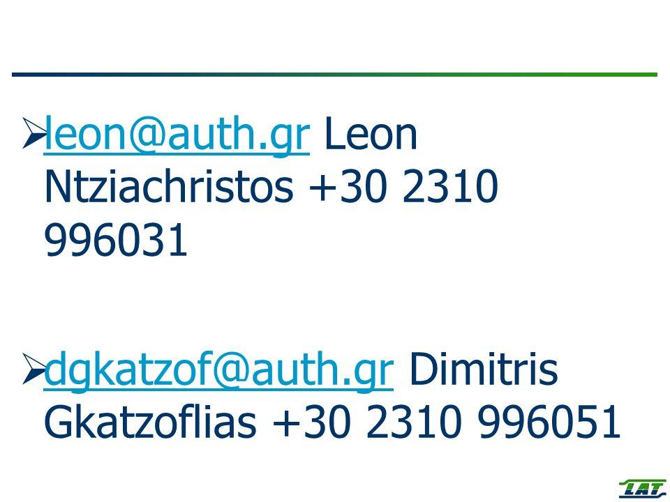 leon@auth.gr Leon Ntziachristos +30 2310 996031 leon@auth.gr dgkatzof@auth.gr Dimitris Gkatzoflias +30 2310 996051 dgkatzof@auth.gr