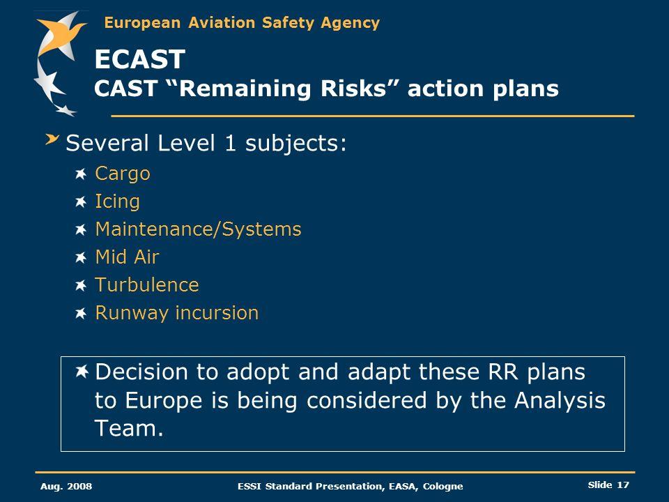 European Aviation Safety Agency Aug. 2008ESSI Standard Presentation, EASA, Cologne Slide 17 ECAST CAST Remaining Risks action plans Several Level 1 su