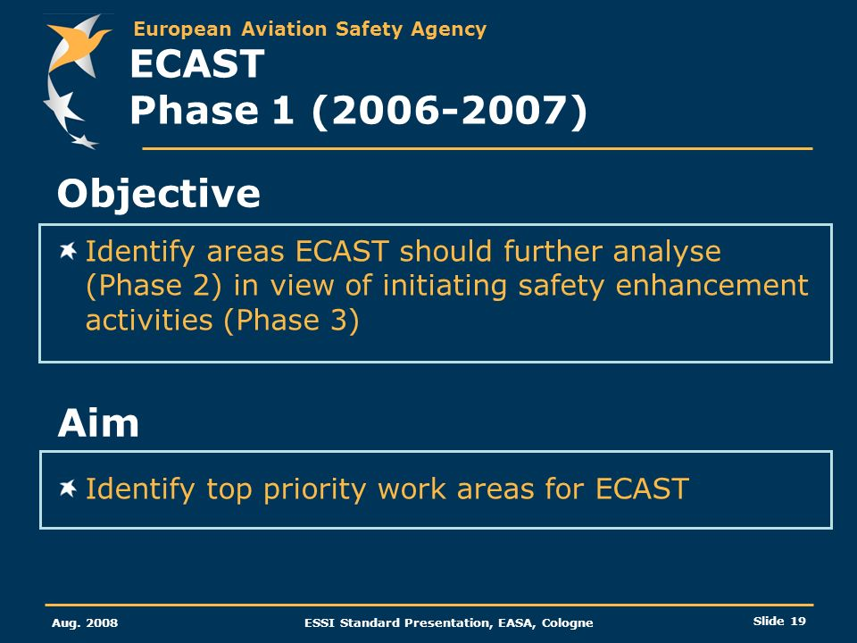 European Aviation Safety Agency Aug. 2008ESSI Standard Presentation, EASA, Cologne Slide 19 Identify areas ECAST should further analyse (Phase 2) in v