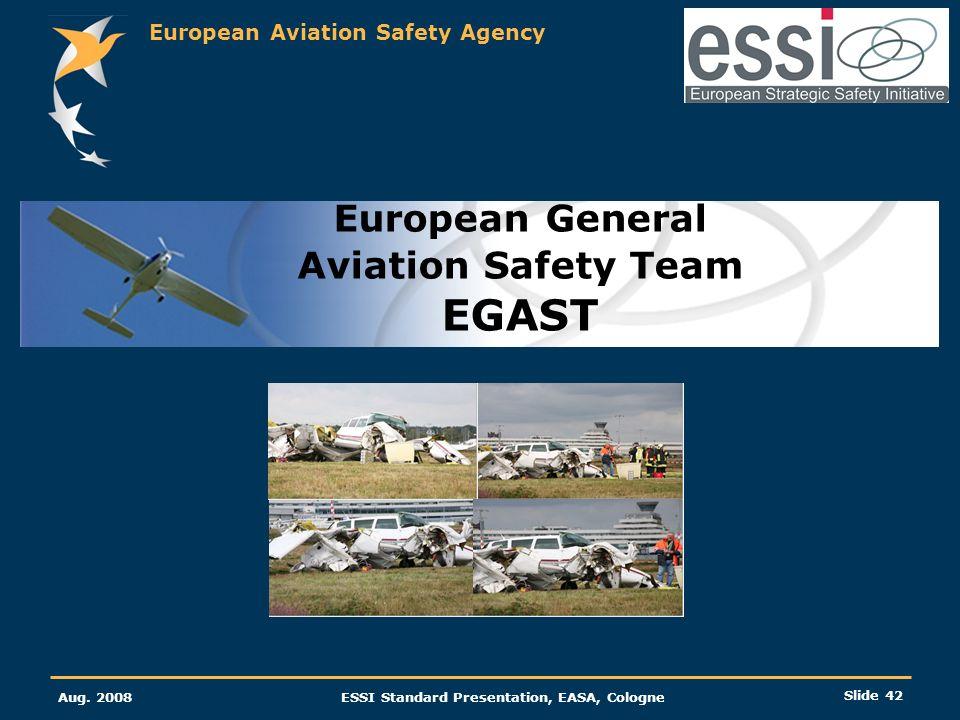 European Aviation Safety Agency Aug. 2008ESSI Standard Presentation, EASA, Cologne Slide 42 European General Aviation Safety Team EGAST
