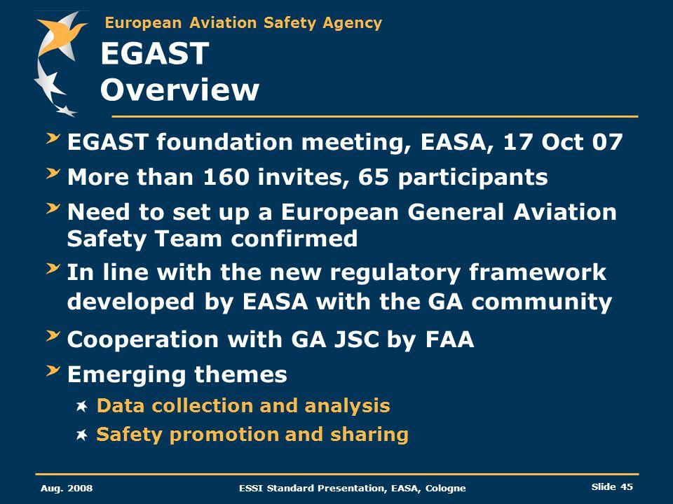 European Aviation Safety Agency Aug. 2008ESSI Standard Presentation, EASA, Cologne Slide 45 EGAST Overview EGAST foundation meeting, EASA, 17 Oct 07 M