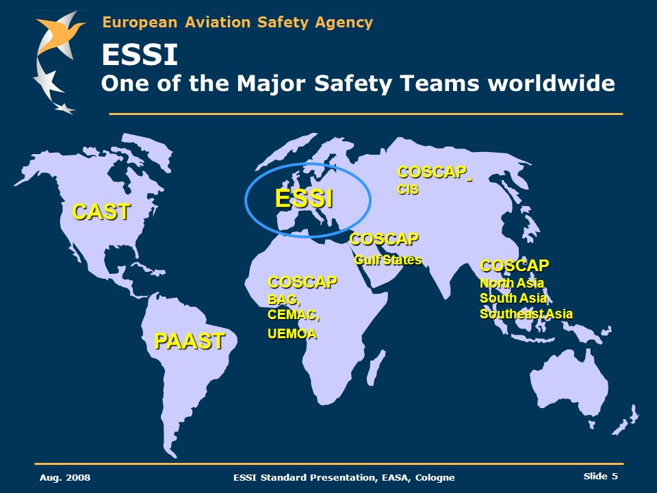 European Aviation Safety Agency Aug. 2008ESSI Standard Presentation, EASA, Cologne Slide 5 ESSI One of the Major Safety Teams worldwide CAST PAAST ESS