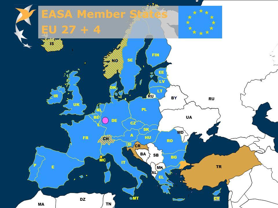 European Aviation Safety Agency Aug. 2008ESSI Standard Presentation, EASA, Cologne Slide 6 FIN IS EE UA MD TR CY FR LV LT BE NL DE UK IR BYBY RO AL MK