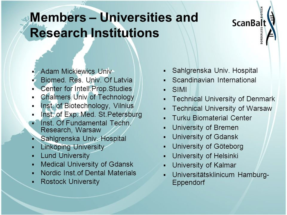 Members – Universities and Research Institutions Adam Mickiewics Univ Biomed.
