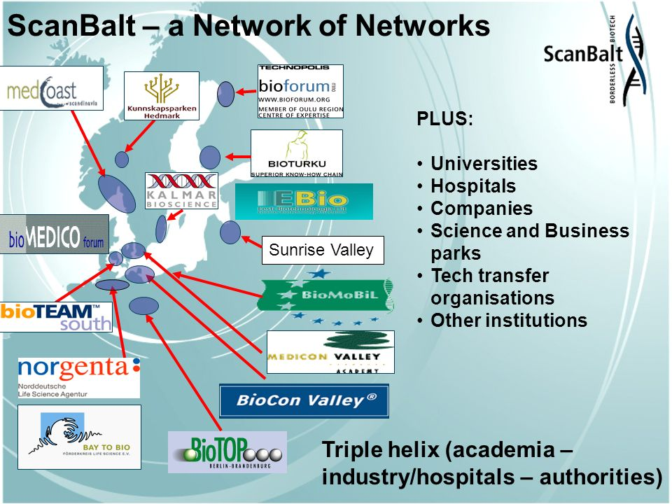 ScanBalt – a Network of Networks PLUS: Universities Hospitals Companies Science and Business parks Tech transfer organisations Other institutions Sunrise Valley Triple helix (academia – industry/hospitals – authorities)