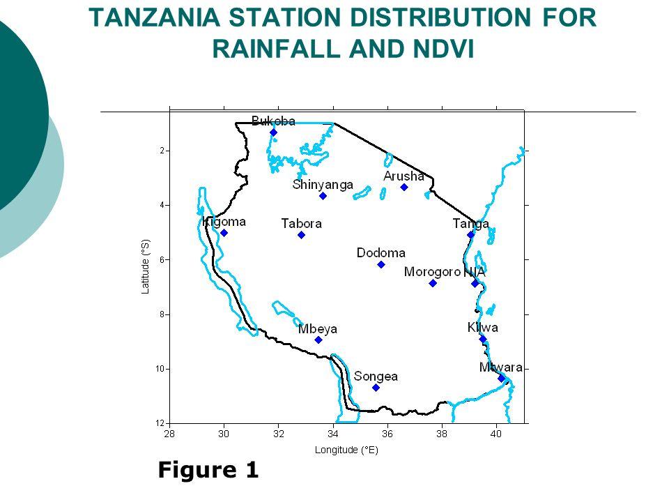 TANZANIA STATION DISTRIBUTION FOR RAINFALL AND NDVI Figure 1