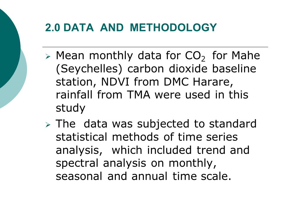 2.0 DATA AND METHODOLOGY Mean monthly data for CO 2 for Mahe (Seychelles) carbon dioxide baseline station, NDVI from DMC Harare, rainfall from TMA wer