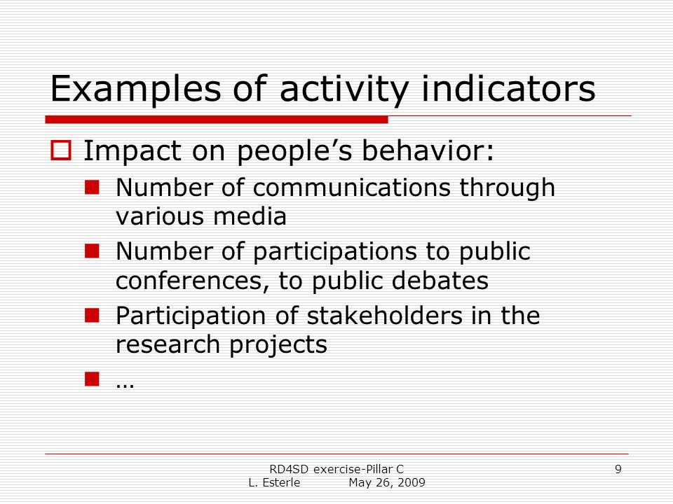 RD4SD exercise-Pillar C L. Esterle May 26, 2009 9 Examples of activity indicators Impact on peoples behavior: Number of communications through various