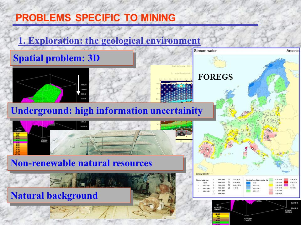 PROBLEMS SPECIFIC TO MINING 1. Exploration: the geological environment Spatial problem: 3D Non-renewable natural resources Natural background FOREGS U